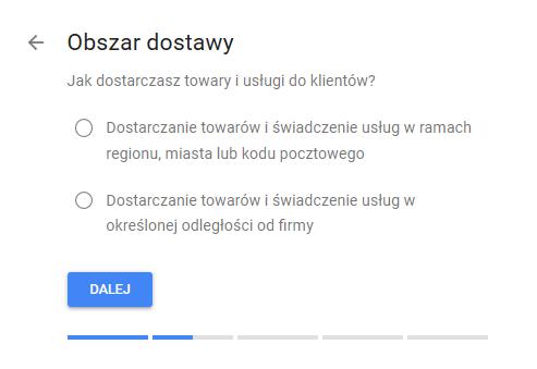 Google Moja Firma obszar dostawy