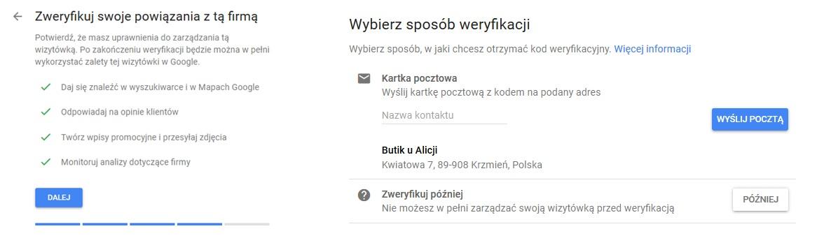 Google Moja Firma weryfikacja