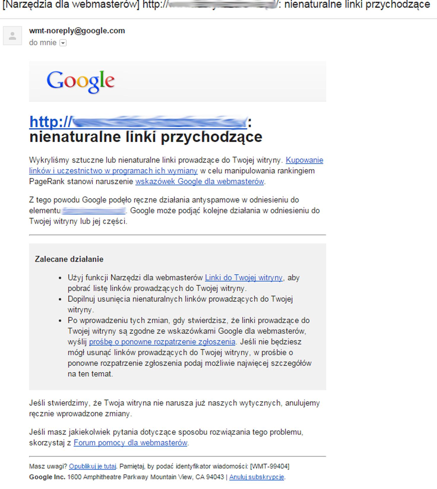 kara Google za linki przychodzące