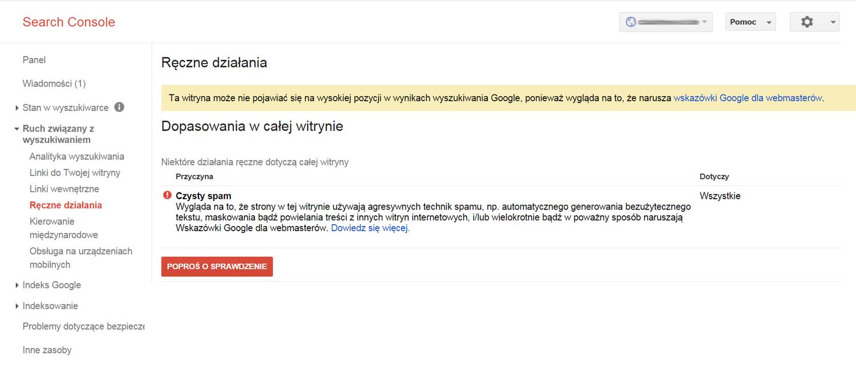 czysty spam filtr ręczny od Google