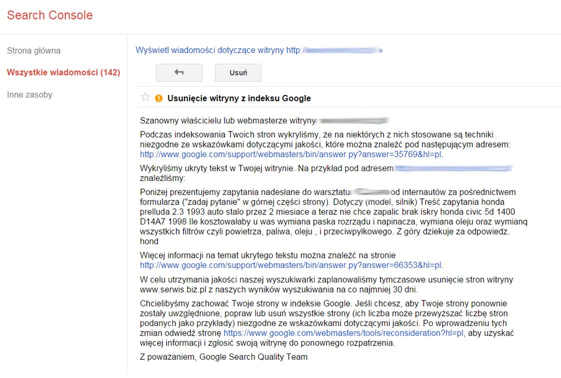 maskowanie treści kara Google