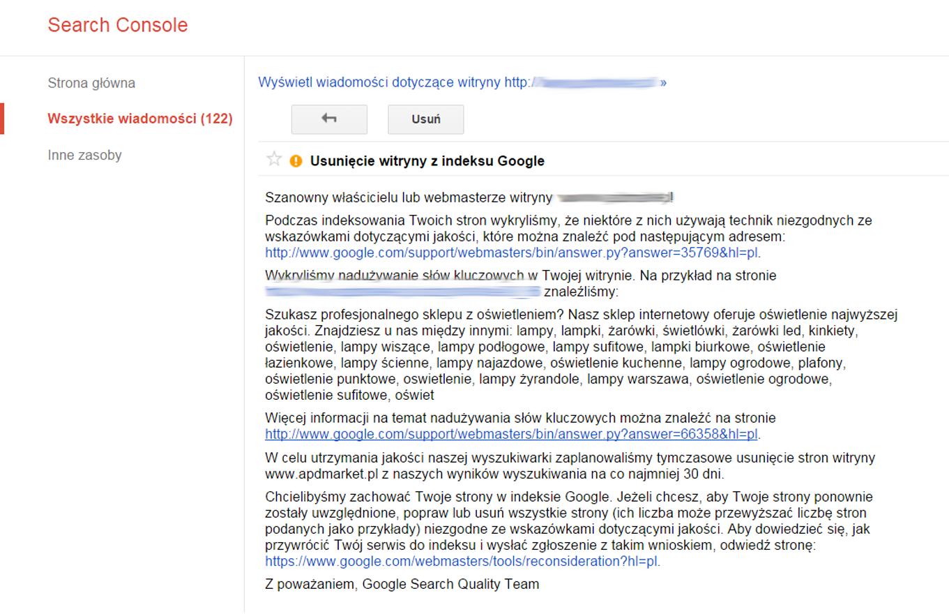 usunięcie witryny z indeksu