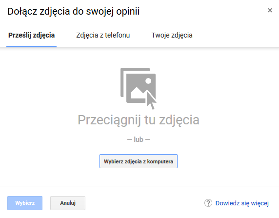 przesyłanie zdjęć do Google Moja Firma