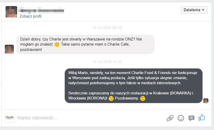 rozmowa z klientem na facebooku