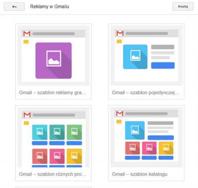 projektowanie reklam w poczcie Gmail