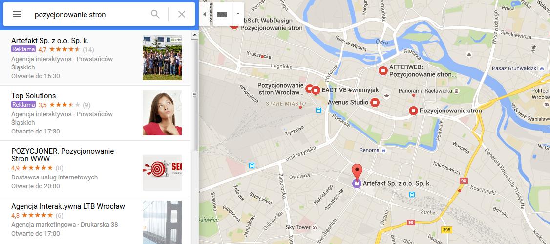 Fioletowa pinezka w Google Maps