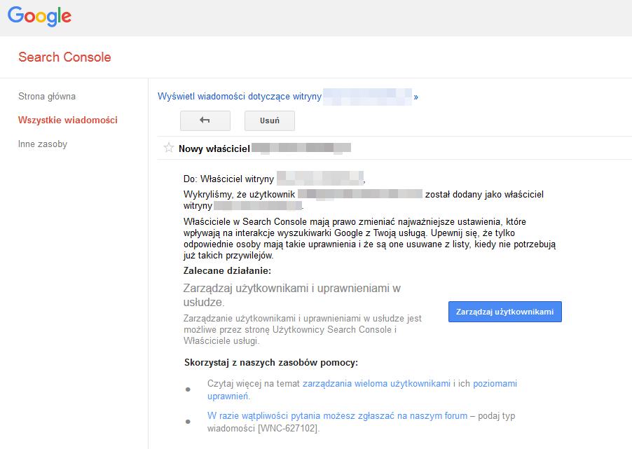 Komunikat Google Search Console