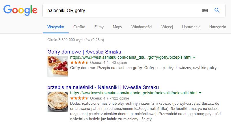 operator or wyszukiwarka Google