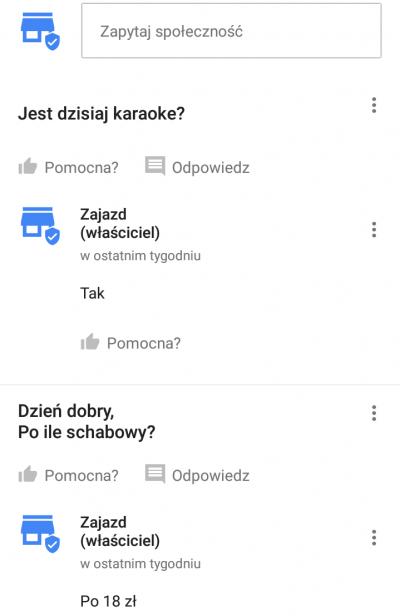 Pytania i odpowiedzi Google Moja Firma