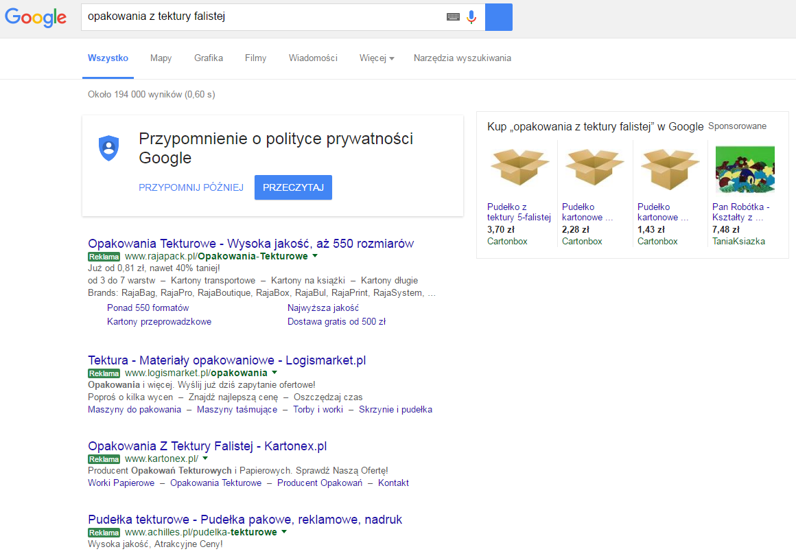 Zielone linki do reklam AdWords