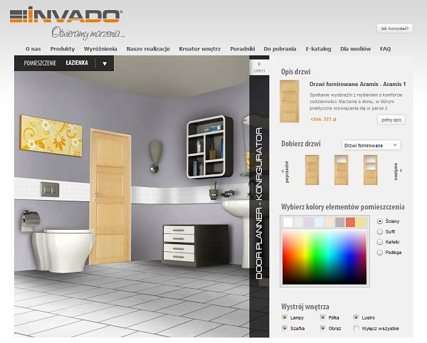 Wirtualny kreator wnętrz dla firmy Invado