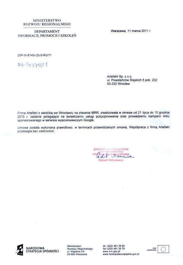 Rekomendacje: Ministerstwo Rozwoju Regionalnego