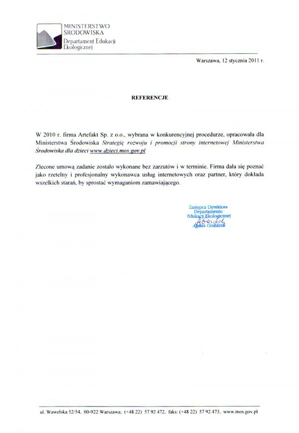 Rekomendacje: Ministerstwo Ochrony Środowiska