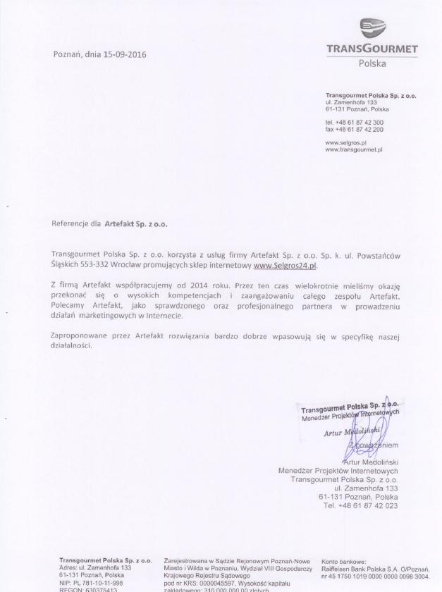 Rekomendacje: www.selgros24.pl