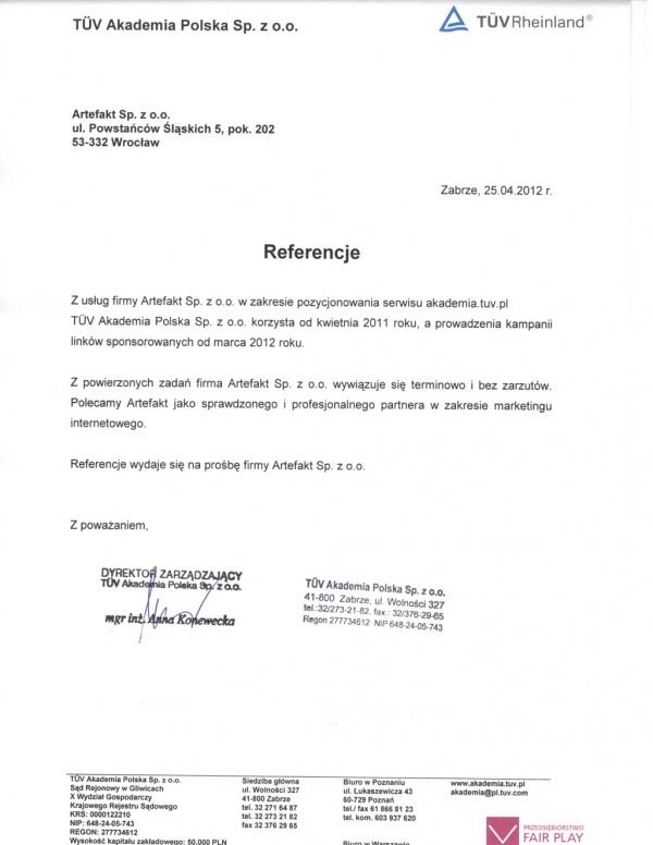 Rekomendacje: TÜV Akademia Polska Sp. z o.o.