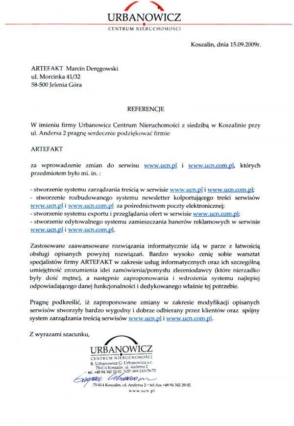 Rekomendacje: Urbanowicz Centrum Nieruchomości