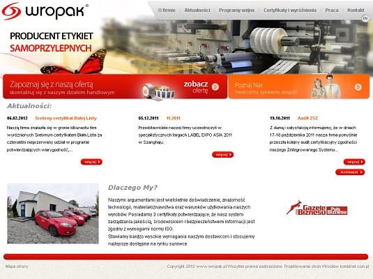 Odświeżenie wizerunku strony internetowej Wropak.pl