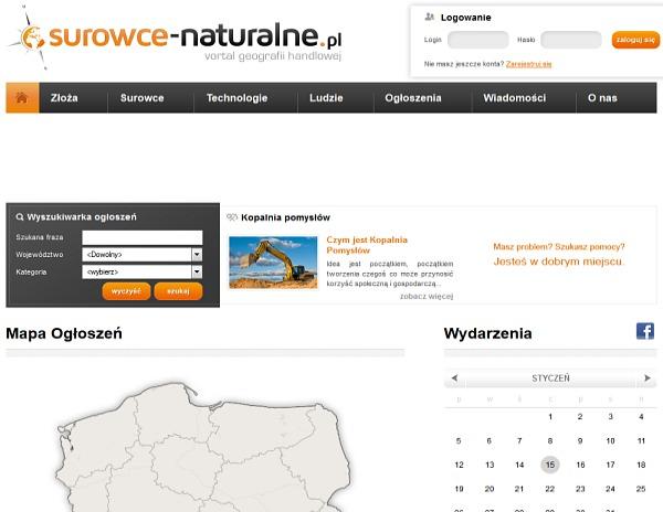Projekt witryny Surowce-naturalne.pl