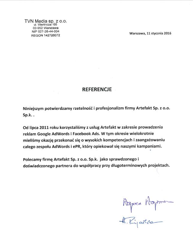 Rekomendacje: TVN Media Sp. z o.o.