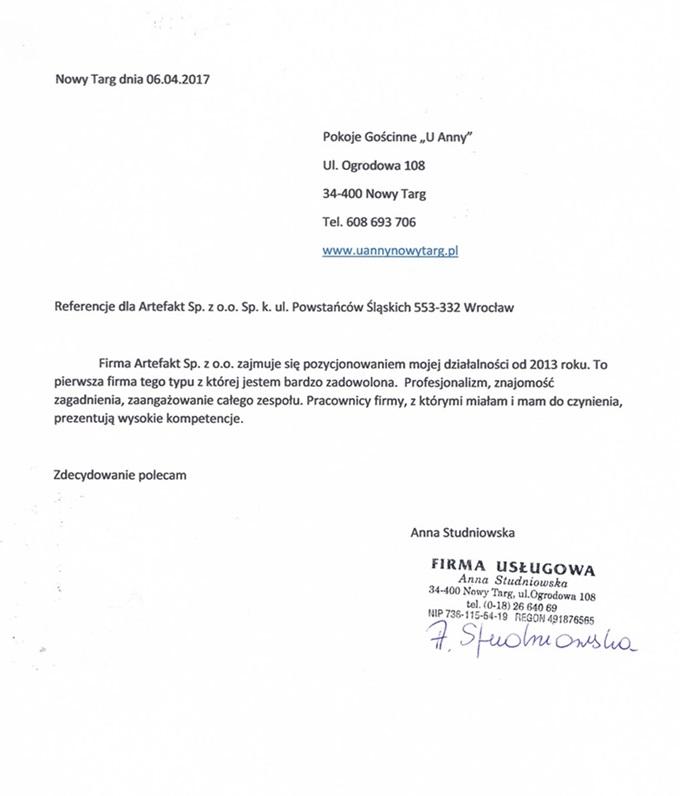 """Rekomendacje: Pokoje Gościnne """"U Anny"""""""