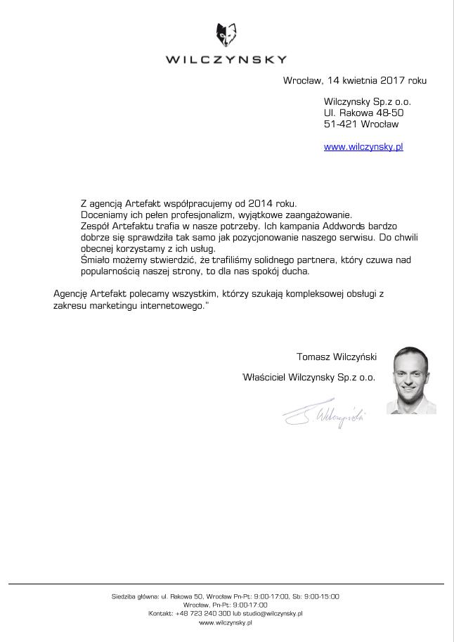 Rekomendacje: Wilczynsky Sp. z o.o.