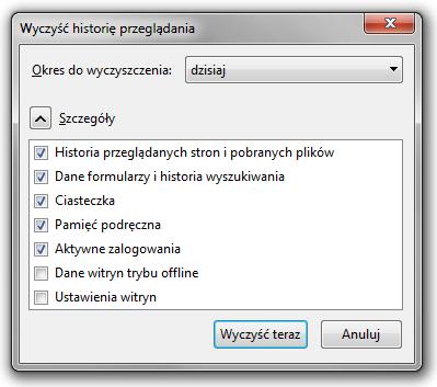Historia przeglądania w Mozilli Firefox