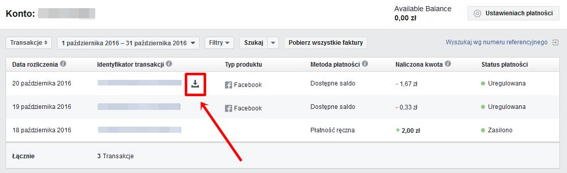 pobieranie faktury na Facebooku