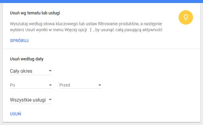 Usuwanie aktywności w Google