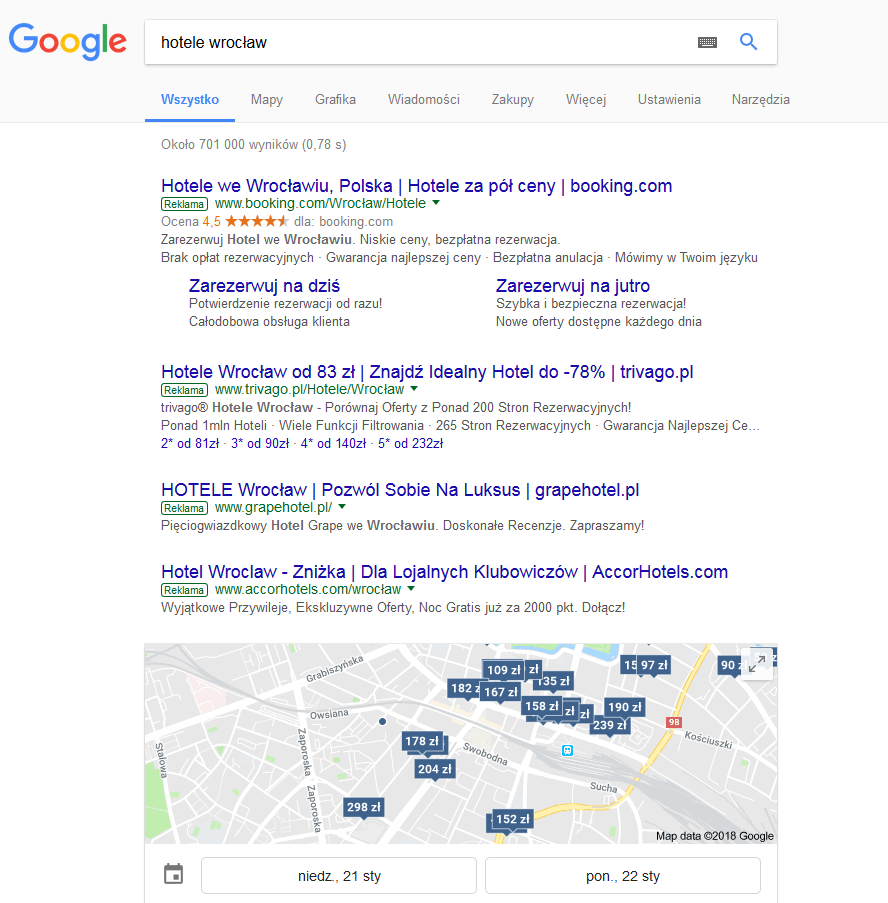 Hotele Wrocław Google