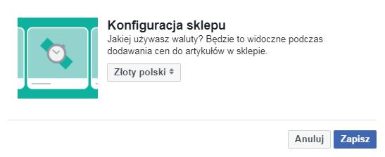Facebook sklep konfiguracja waluty