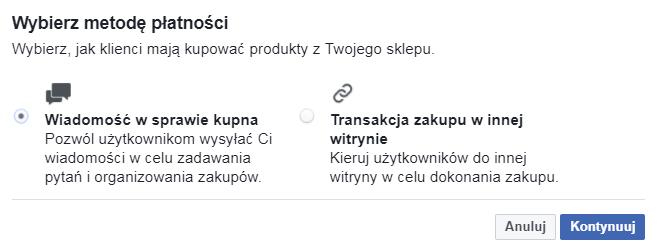 Facebook sklep metody płatności