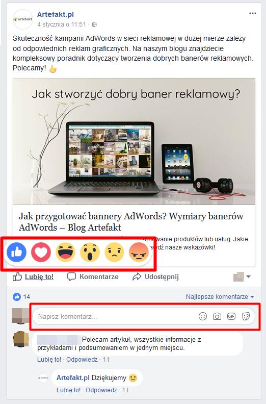 reakcje facebook