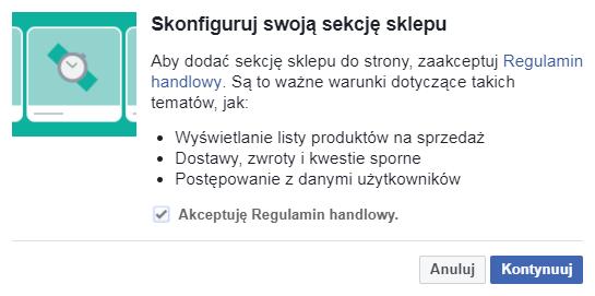 Regulamin sklepu Facebook