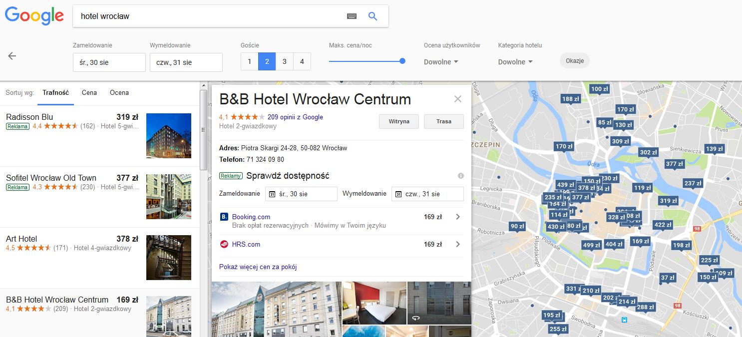 Google Maps hotele wrocław