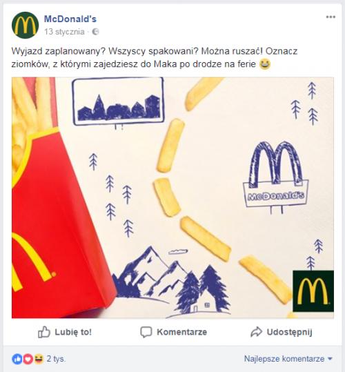 mcdonald's fanpage na Facebooku