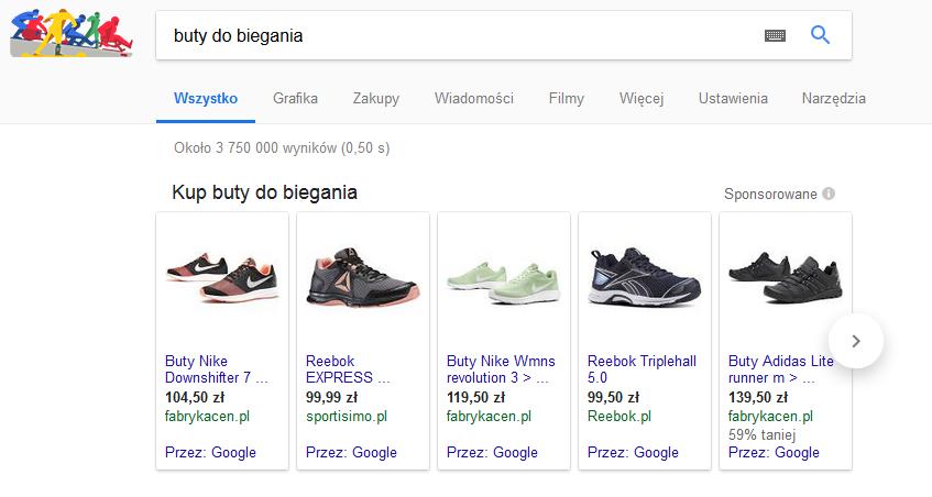 Google Zakupy sklep sportowy