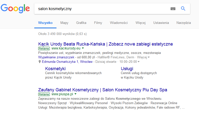 Google AdWords branża beauty