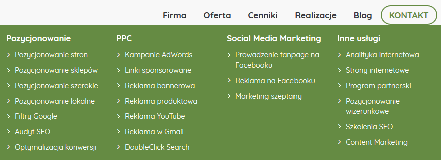 menu główne linkowanie wewnętrzne