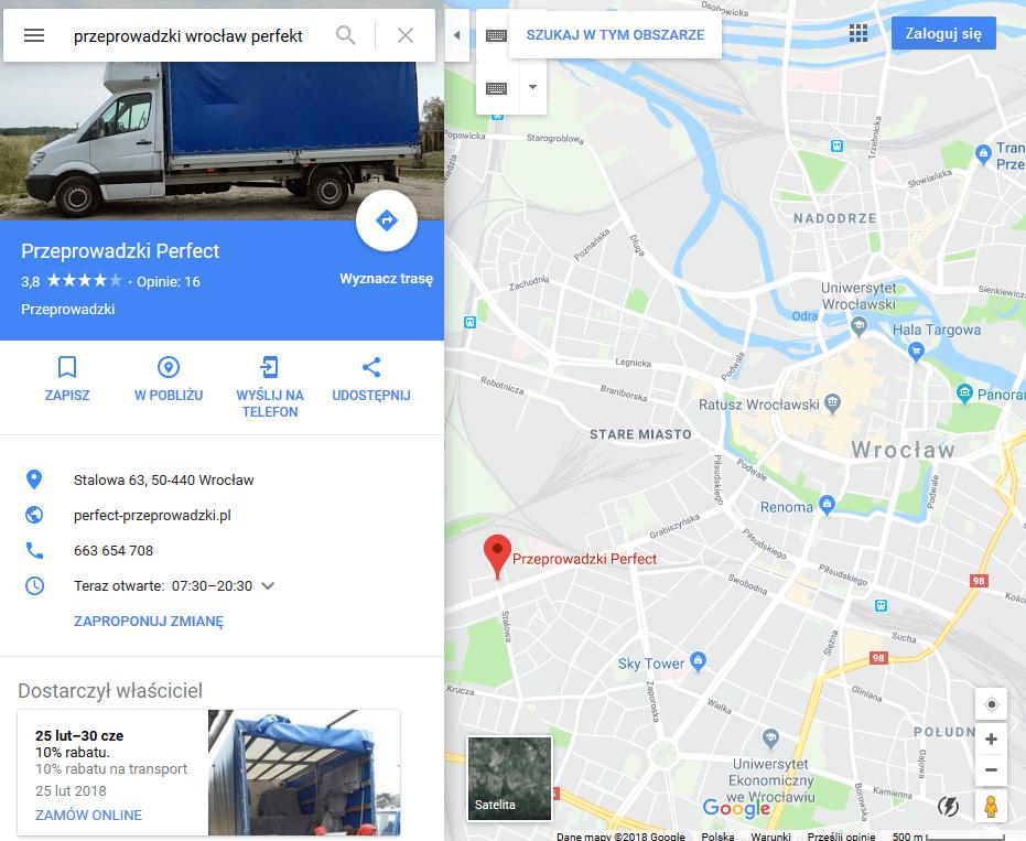 google maps firma przeprowadzkowa