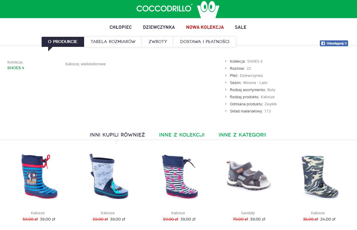 sekcja z produktami sklep Coccodrillo