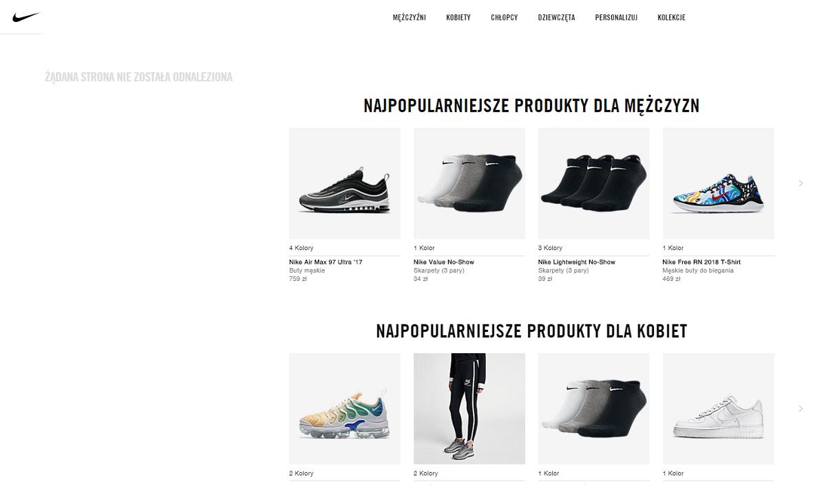 najpopularniejsze produkty Nike