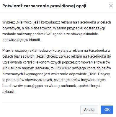 cel reklamy Facebook