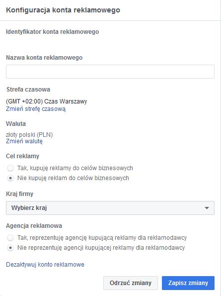 cele reklamy Facebook