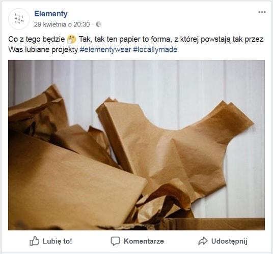 Elementy wear post na facebooku
