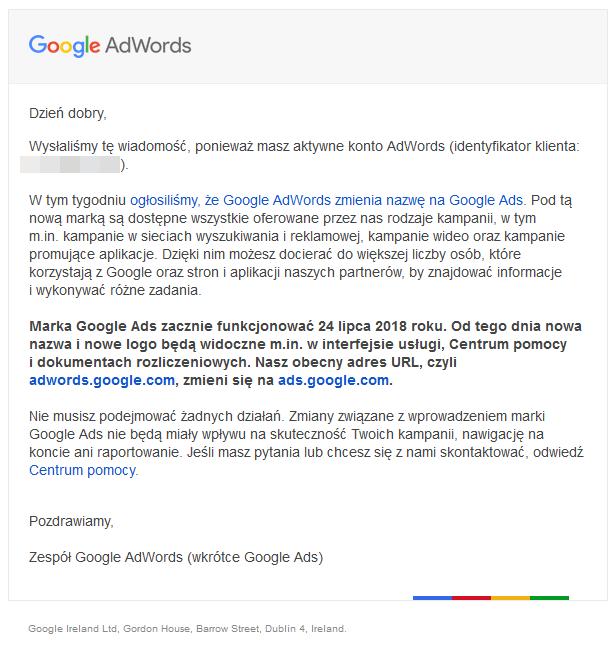 Google Ads komunikat