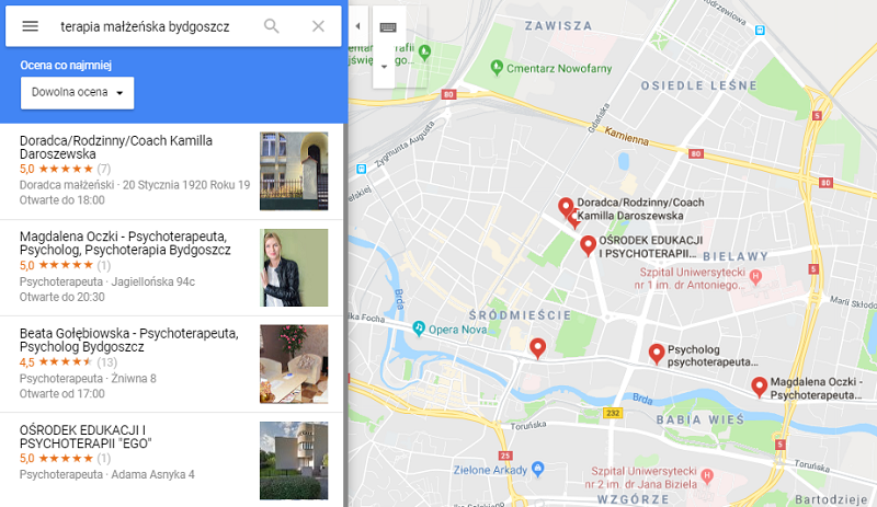 google maps psycholog