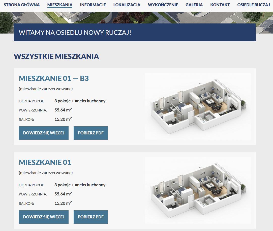 karta mieszkania na stronie internetowej