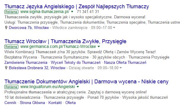 tłumaczenia reklamy adwords