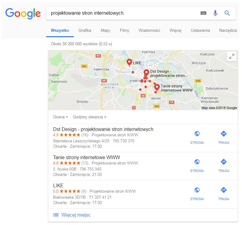 wyniki wyszukiwania google projektowanie stron