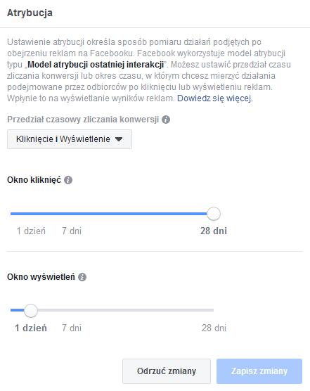 zmiana atrybucji FB
